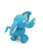 Blue elephant. Made from child's play clay isolated on white background Royalty Free Stock Photo