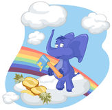 A blue elephant with an ax and pineapple. On a cloud Stock Photos