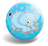 Blue elephant on the badge Royalty Free Stock Images