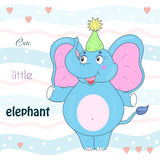 Blue elephant in the cap. Sample comic  illustration. Royalty Free Stock Image