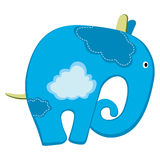 Blue elephant with clouds Royalty Free Stock Photography