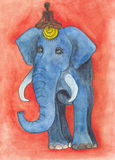 Blue elephant drawing Royalty Free Stock Image