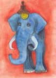 Blue elephant drawing royalty free stock image