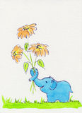 Blue elephant with flowers Stock Image
