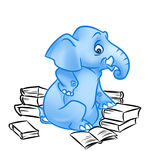 Blue Elephant many books Royalty Free Stock Photos