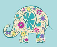 Blue elephant painted by flowers. Stock Photo