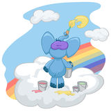 The blue elephant stands on the cloud and draws the sun. The blue elephant stands on the cloud. He draws the sun. Buckets with paint stand beside him Stock Image