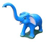 Blue elephant statue isolated on white Royalty Free Stock Image