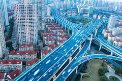 Blue elevated road junction Stock Photos