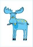 Blue elk. Blue cartoon elk, sad animal vector illustration
