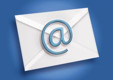 Blue Email. Email icon over a blue background Royalty Free Stock Photography