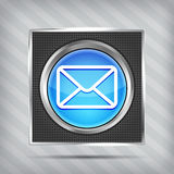 Blue email button icon Stock Photography