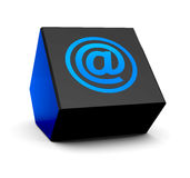 Blue email in a cube Stock Images