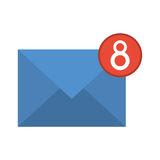 Blue email envelope received social media Royalty Free Stock Photo