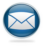 Blue email icon button. An illustrated letter envelope on a blue, round button or icon, symbolizing internet email Stock Photos
