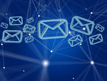 Blue Email symbol displayed on a futuristic interface - Message. View of a Blue Email symbol displayed on a futuristic interface - Message and internet concept Royalty Free Stock Image