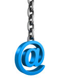 Blue email at symbol on metallic chain. 3d render illustration Stock Photos