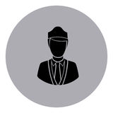 Blue emblem guard person icon. Blue emblem person icon,  illustraction design image Royalty Free Stock Photography