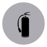 Blue emblem sticker extinguisher icon Stock Image