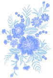 Blue embroidered flower bouquet field fashion patch fabric ornament traditional ethnic vintage embroidery vector Royalty Free Stock Photo