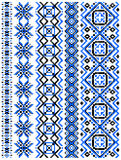 Blue embroidery borders and frames Stock Images