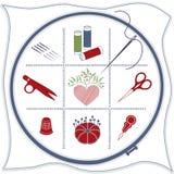 blue embroidery icons red white Fotografering för Bildbyråer