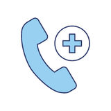 Blue emergency call cartoon. Blue emergency phone call cartoon vector graphic design Stock Photo