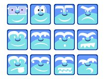Blue Emotion Icons Stock Photography