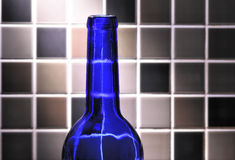 Blue empty bottle Stock Photo