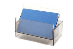 Blue empty business  cards in a box Royalty Free Stock Photography