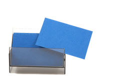 Blue empty business  cards in a box Stock Photos