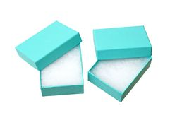 Blue empty gift boxes Royalty Free Stock Photos