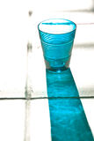 Blue empty glass with reflection Royalty Free Stock Image