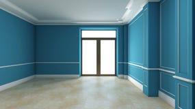Blue empty interior with door Stock Photography