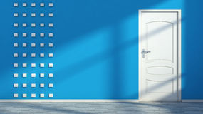 Blue empty interior with white door Stock Images