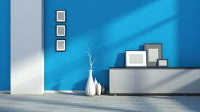 Blue empty interior with white vases and blank picture Royalty Free Stock Images