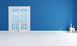 Blue empty mediterranean interior Royalty Free Stock Image