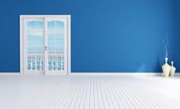 Blue empty mediterranean interior Royalty Free Stock Image