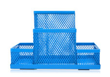 Blue empty pencil holder isolated on white Royalty Free Stock Images
