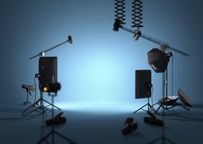 Blue Empty Photography Studio. An empty blue photography studio with lighting equipment. 3D illustration Stock Image