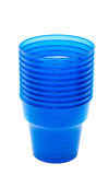 Blue empty plastic cup Stock Images