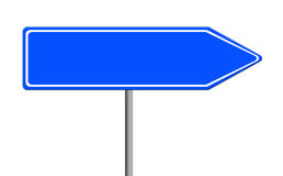 Blue empty road sign template on white background Stock Photo