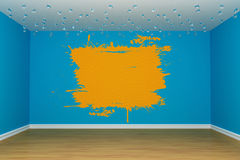 Blue empty room. With orange splash on the wall Royalty Free Stock Image