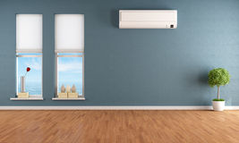 Blue empty room with air conditioner Royalty Free Stock Photography