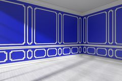 Blue empty room corner with molding and white parquet. Blue empty room corner interior with sunlight from window, decorative classic style molding frames on Royalty Free Stock Photography
