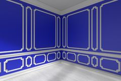 Blue empty room corner with molding and white parquet closeup. Blue empty room corner interior with sunlight from window, decorative classic style molding frames Royalty Free Stock Photo