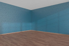 Blue empty room corner with parquet floor Stock Images