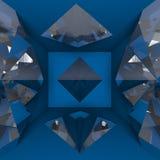 Blue empty room with diamond Stock Photo