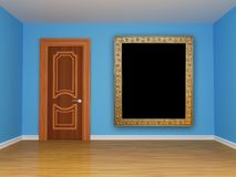 Blue empty room with door Royalty Free Stock Photos