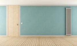 Blue empty room with door full height and vertical radiator - rendering Stock Image